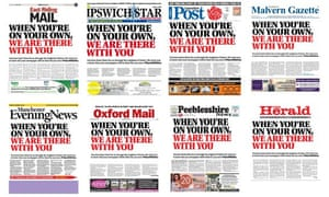 Local newspapers across the country printed the same front-page message of support