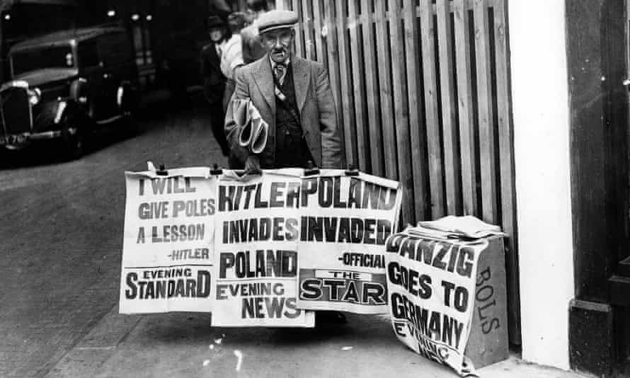 Newspaper headlines on 1 September 1939; the United Kingdom declared war on Germany two days later.