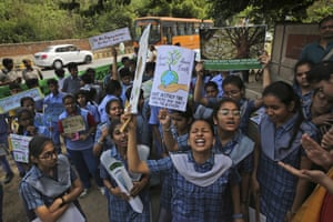Students from different schools voice their concerns outside Indian Ministry of Environment, Forest and Climate Change during a protest in New Delhi