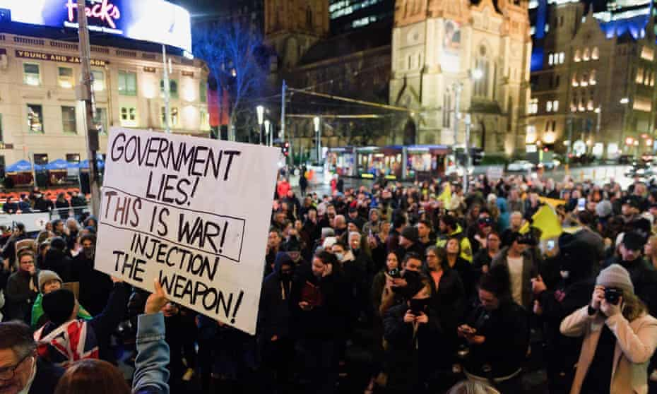 The anti-lockdown protest in Melbourne, where police arrested 15 people. Victoria has entered its sixth Covid lockdown.