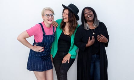 The Get it off your Breast podcast team Shola Aleje, Emma Gannon and Lliana Bird,