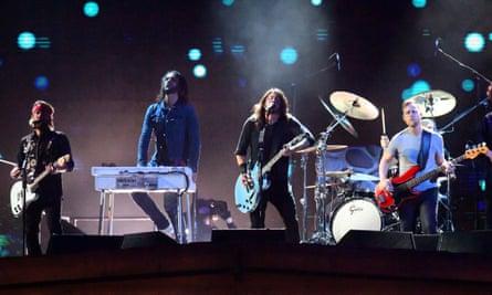 Rawk gravitas … Foo Fighters performing at the Brits.
