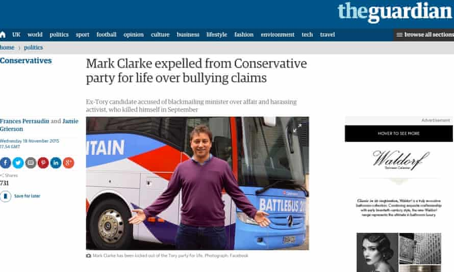 Guardian report of Clarke's expulsion from the Conservative party