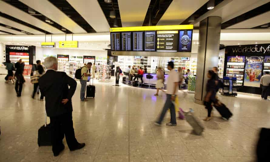 Travellers at Heathrow airport's Terminal 5
