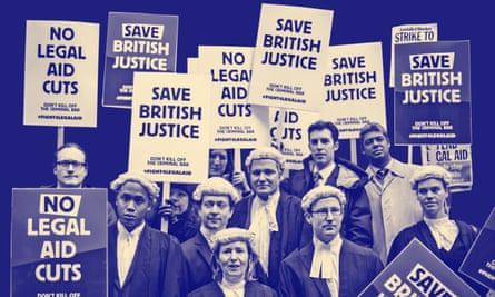 Barristers and lawyers in London protest against government cuts to legal aid fees.