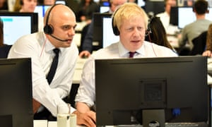 Sajid Javid and Boris Johnson at the Conservative campaign headquarters in London, December 2019
