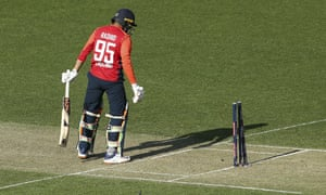 Adil Rashid surveys the wreckage of his stumps as England slump to defeat against New Zealand.