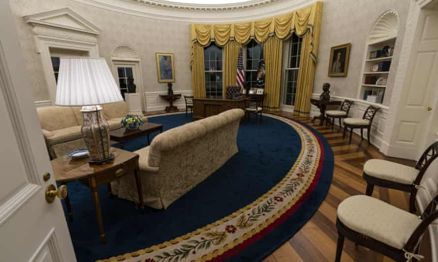 The Oval Office of the White House is newly redecorated for the first day of President Joe Biden's administration.