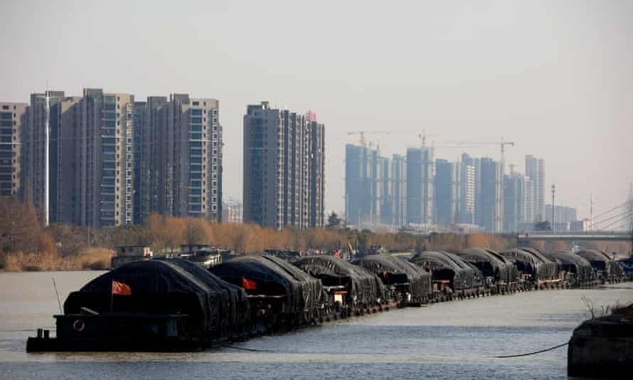 Vessels carrying coal along the Beijing-Hangzhou Grand Canal in China