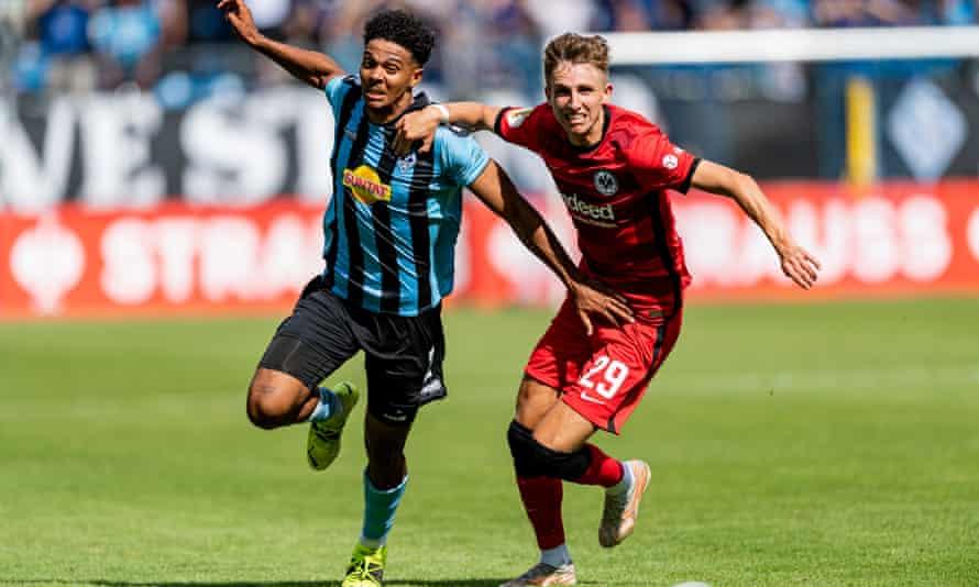 Jesper Lindstrøm (right) is aiming to make an impression at Eintracht Frankfurt.