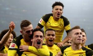 Dortmund's Thomas Delaney celebrates scoring the opening goal.