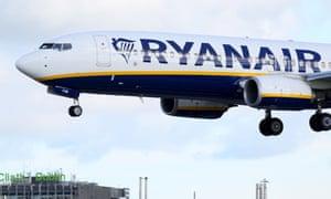 A Ryanair plane landing at Dublin airport.