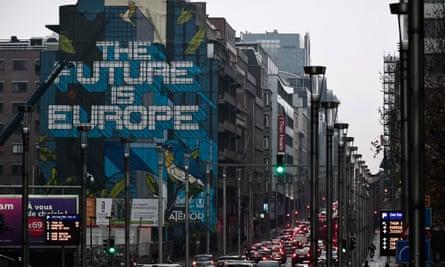 A mural outside the EU headquarters in Brussels.