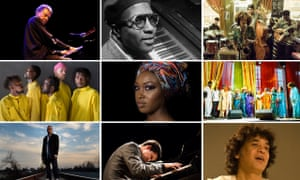 From left at top row: Abdullah Ibrahim, Thelonious Monk and Maisha; middle row: Kokoroko, Camilla George and the Sai Anantam Singers; bottom row: Terence Blanchard, Justin Kauflin and Zakir Hussain