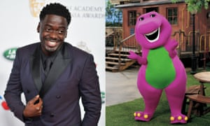 Daniel Kaluuya and Barney the dinosaur.
