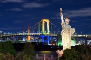 This version on the island of Odaiba in Japan is backlit with a view of Tokyo