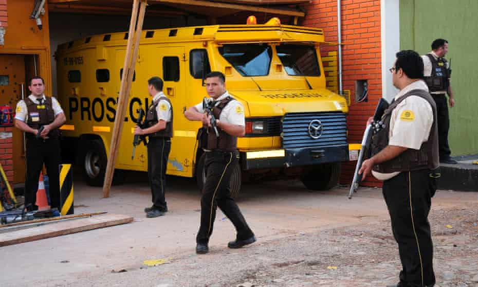 Guards from the private security company Prosegur after the Paraguay-based firm was targeted in a multimillion-dollar raid in April.