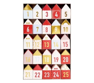 Eraser advent calendar, £16,  kikki-k.comSweet Swedish paper houses with an eraser and a 'gratitude prompt' in each