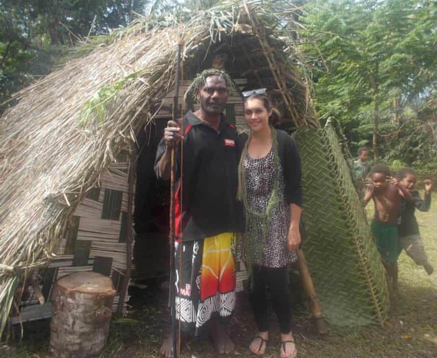 McQuire with her cousin Yatunuman on her Pop Youse's land on Tanna