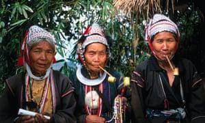 Akha Hill tribe Thai women smoking