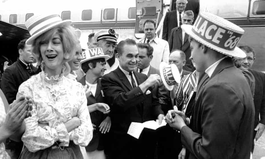 Third-party presidential candidate George Wallace campaigns in Boston, 1968