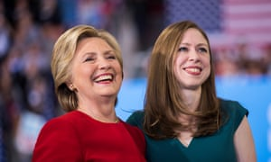 Hillary Clinton with her daughter Chelsea at a rally in November 2016.