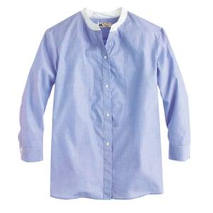blue and white colarless shirt