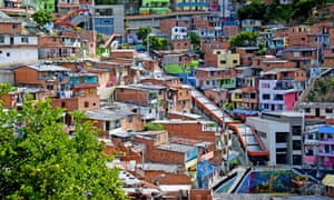 Medellin slum has outdoor escalator installed, Colombia