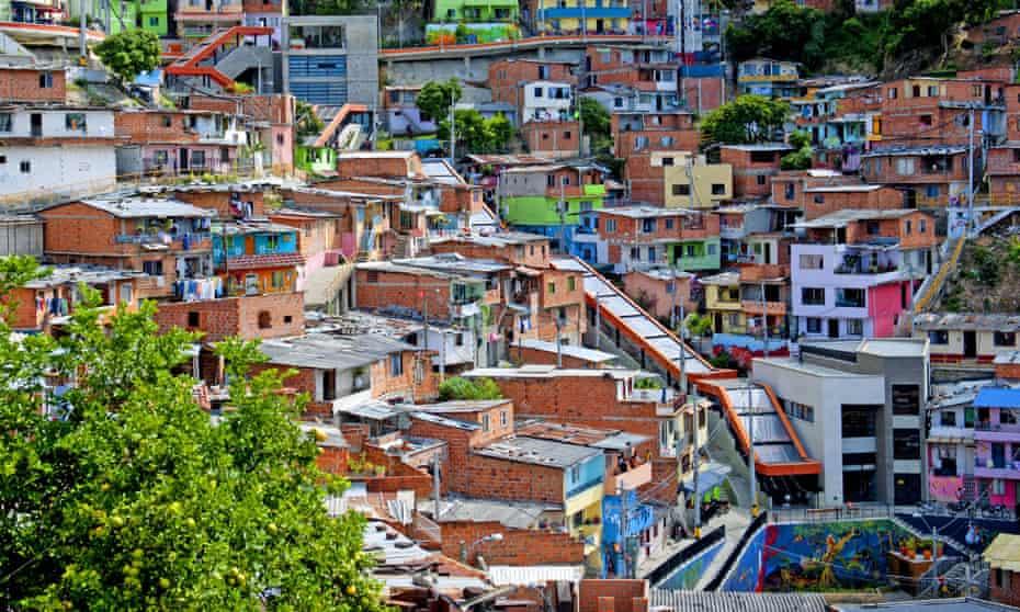 Medellin slum has outdoor escalator installed, Colombia