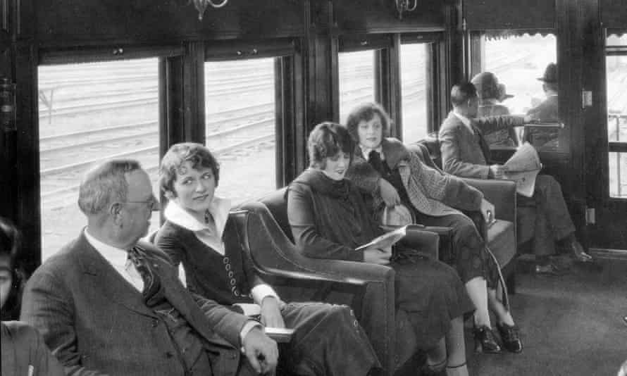Passengers in the observation car of the C&A railway's flagship service from Chicago in 1925.