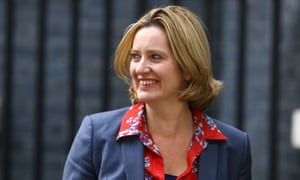 Amber Rudd leaves Downing Street after being appointed as home secretary on Wednesday.