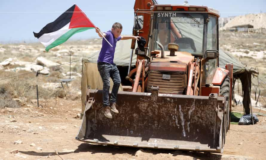 A Palestinian protest against the Pnei Hever Jewish settlement in the West Bank.