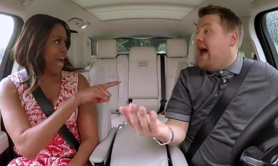 Michelle Obama and James Corden sing Stevie Wonder's Signed, Sealed, Delivered I'm Yours and Beyoncé's Single Ladies (Put A Ring On It) on Carpool Karaoke.