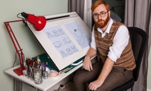 Matthew Dooley at the drawing board in his home in south London.