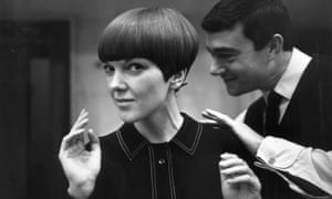 Mary Quant, having her hair cut by Vidal Sassoon.