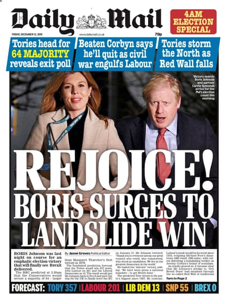 Daily Mail final edition, Friday 13 December 2019.