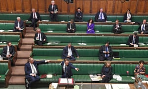 MPs observed physical distancing while debating the coronavirus bill last month.