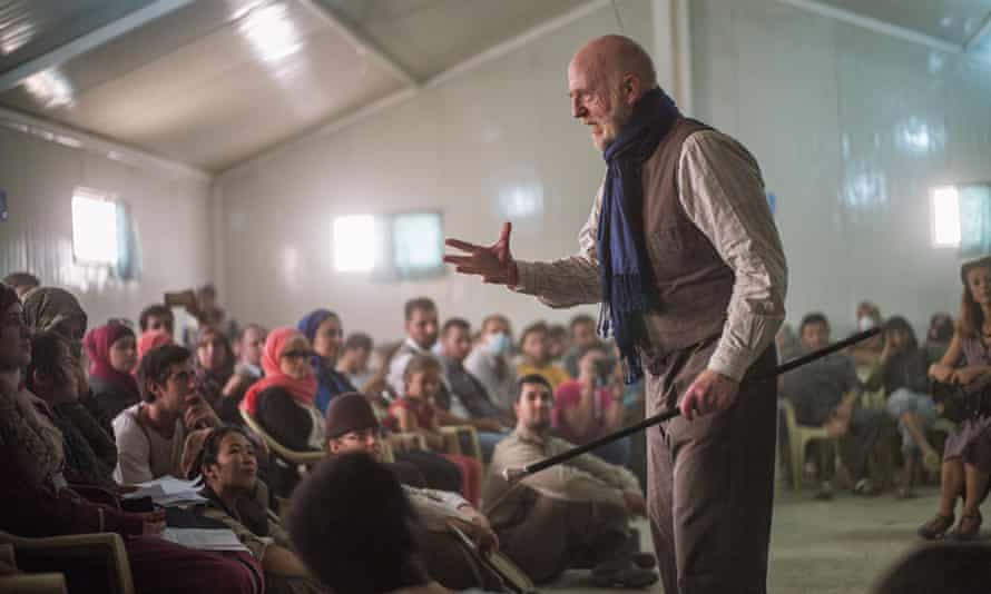 The Globe Theatre's touring production of Hamlet at the Zataari Refugee camp on the Jordanian-Syrian border.