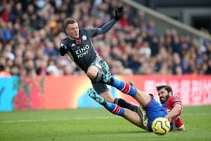 Leicester City's Jamie Vardy is taken down by James Tomkins of Crystal Palace. Vardy score the Foxes second goal to win the match 2-0 at Selhurst Park.
