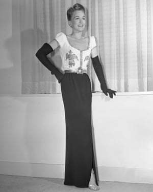 A dinner gown, created by Jo Copeland for Pattullo Modes, shown in New York for the opening of the 1943 autumn/winter season.