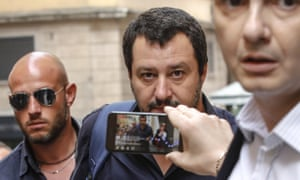 League leader Matteo Salvini arrives at the Lower House in Rome, 28 May 2018.