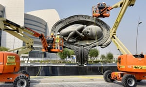 The finishing touches are put to the sculptures, which were originally unveiled in 2013 amid outcry.