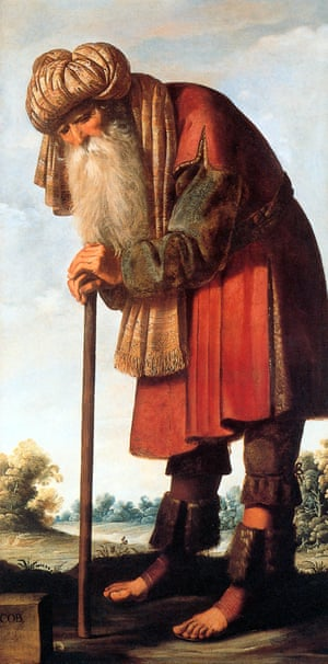 17th century painting, Jacob, by Francisco de Zurbarán, showing bearded man leaning on a walking stick