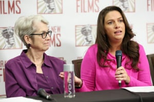 Jessica Leeds and Samantha Holvey speak during the press conference held by women accusing Trump of sexual harassment December, 2017 in New York City.