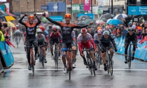 Jesper Asselman of Roompot-Charles celebrates winning stage one of the Tour de Yorkshire, from Doncaster to Selby