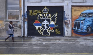 A Serbian nationalist wall painting in North Mitrovica.