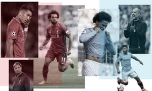 Liverpool's Roberto Firmino, Mohamed Salah and Jurgen Klopp and Leroy Sane, Sergio Aguero and Guardiola of Manchester City. Photographs by Getty Images. Composite by Jim Powell