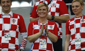 The appearance of Croatia's President, Kolinda Grabar-Kitarovic, in the team's dressing room after their last-16 defeat of Denmark caused waves at home.