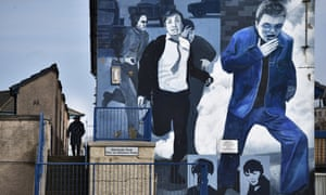 A Bloody Sunday mural situated at Free Derry Corner in Londonderry, Northern Ireland