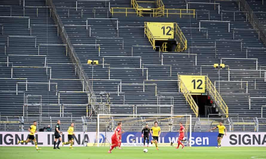 Borussia Dortmund playing Bayern Munich in a behind-closed-doors Bundesliga match on 26 May